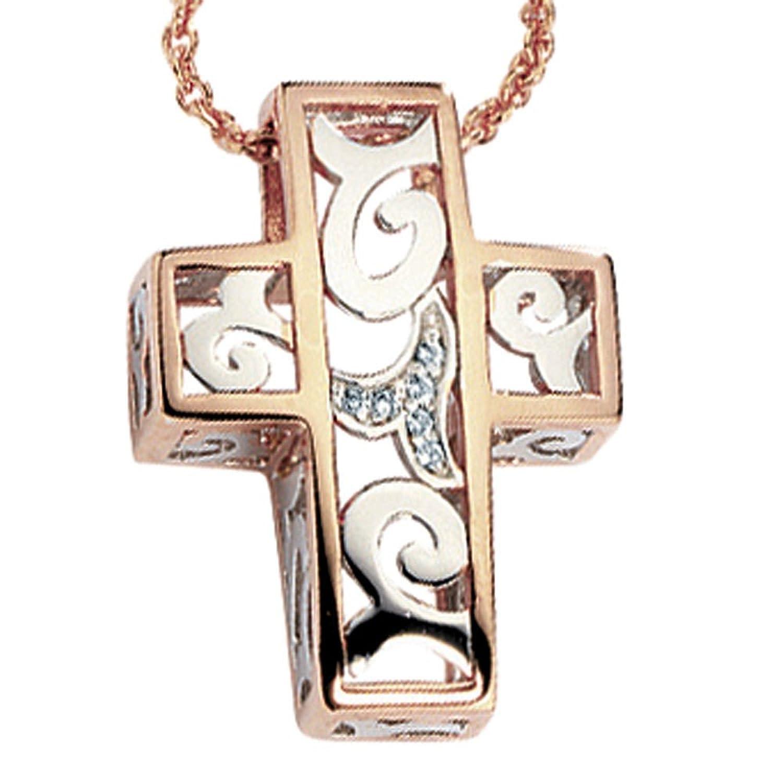 Schmuck Damen Kettenanhänger Anhänger Kreuz weiss rot kombiniert 6 Diamant Brillanten 585 Bicolor online kaufen