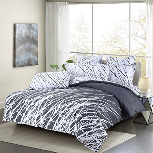 3pc Tree Branches Duvet Cover Set: Duvet Cover and Two Pillow Shams (Grey-White, Queen) (Branches Duvet Cover compare prices)