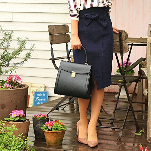 レディースハイウエストリボンベルト付きタイトスカート DS-20151126-09 ブラック ネイビー カーキ オフィス カジュアル 大人 シンプル スカート ハイウエスト リボン Fサイズ (#24ネイビー)