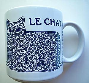 Vintage French 11 oz. Chat (Cat) Mug