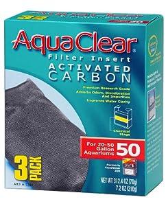 Aquaclear Activated Carbon Insert, 50-Gallon Aquariums, 3-Pack