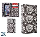 Universal Tyvek Wallet with Phone Pouch fits Motorola DROID Mini Case - BLACK SWIRL. Bonus Ekatomi Screen Cleaner*