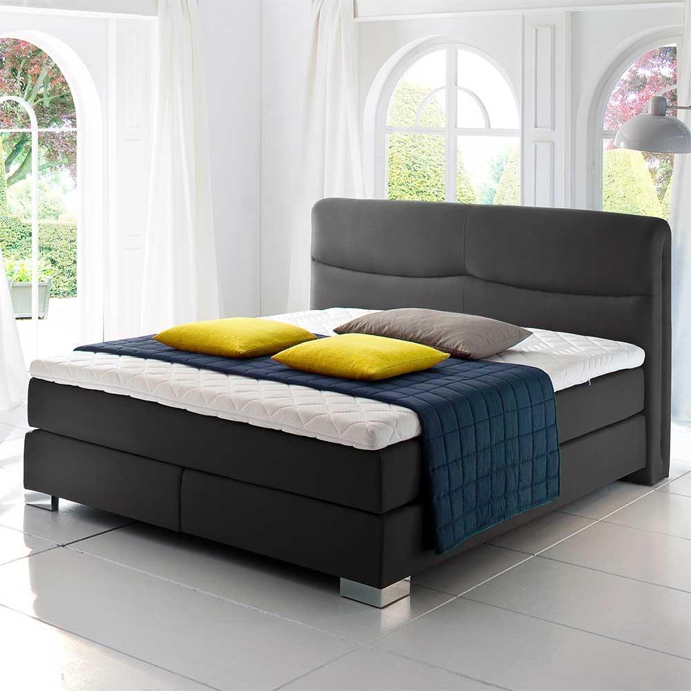 Boxspring Bett in Anthrazit Matratze (3-teilig) Breite 184 cm Liegefläche 180×200 Pharao24 online bestellen