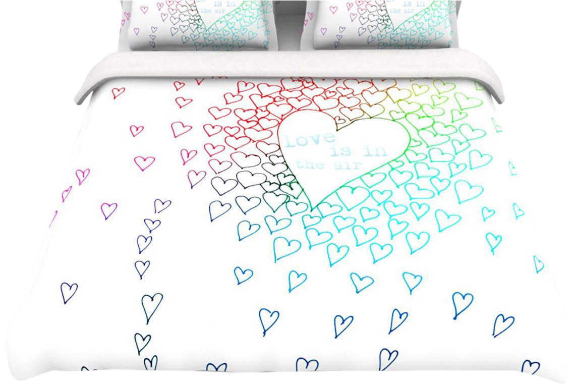 Kess InHouse Monika Strigel Rainbow Hearts Twin Cotton Duvet, 68 by 88-Inch kess inhouse danny ivan ticky ticky twin cotton duvet cover