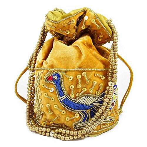 Indian Purse Velvet Beaded Yellow Potli Bag Handbag Bridal Women Wedding Clutch