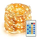 TaoTronics Outdoor String Lights, Dimmable LED String Lights, 66ft 200 LEDs Christmas Decorative Lights for Seasonal Holiday, Complete Waterproof, UL Listed
