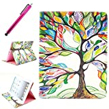 iPad 2/3/4 Case, JCmax Protective Cover New Colorful Premium Flip Folio Style Foldable Side [Card Slots] [Durable Cover] [Kickstand Function] PU Leather Wallet Case Cover Smart Skin For Apple iPad 2/ iPad 3 / iPad 4, Come with one free Stylus -[Floral Tree Pattern]