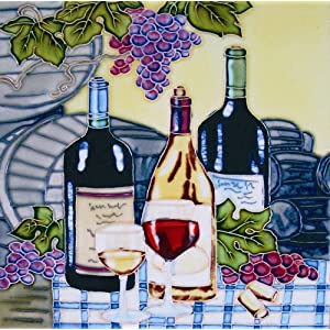 "8""x 8"" Art Tile - Wine with Grapes I"