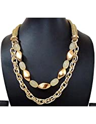 BID4DESIRE GOLDEN FABRIC WITH GOLDEN CHAIN NECKLACE FOR WOMEN