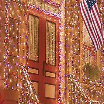 Red White Blue Solar Sting Lights Patriotic Decorations
