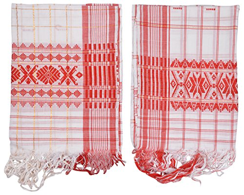 Mala's Collection Mala's Collection Adult Assamese Traditional Gamocha (Pack Of 2, Medium, Multi-Coloured)
