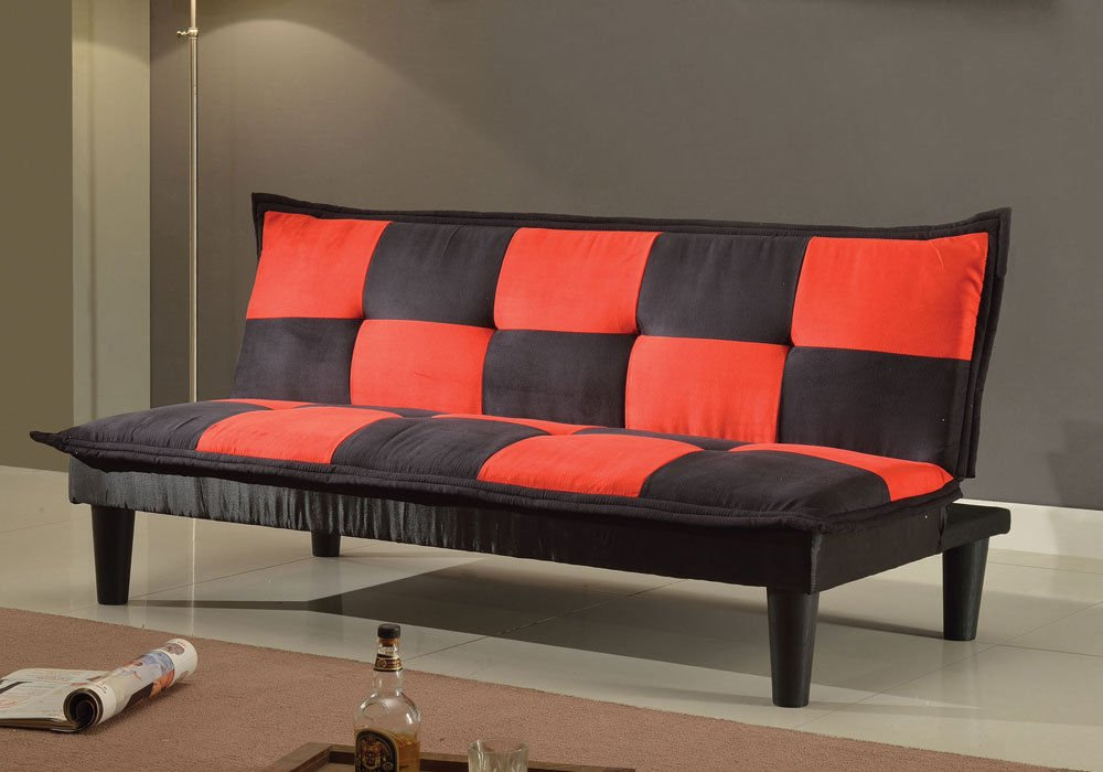1PerfectChoice Robin Comfort Adjustable Sofa Bed Sleeper Futon Checkered Black Red Microfiber