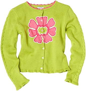 Hartstrings Little Girls' Long Sleeve Flower Cardigan Sweater, Herbal Green, 3T