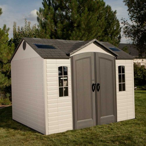 lifetime 60005 8x10ft outdoor storage shed with windows skylights and shelving