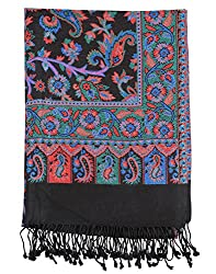 Traditional Viscose Stole Black 80x40 Paisley Self Weaved shawl By Rajrang