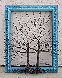 Original Unique Art Mixed Media Large Tree Abstract Sculpture ... Wire tree on vintage ornate shabby style salvaged turquoise blue frame