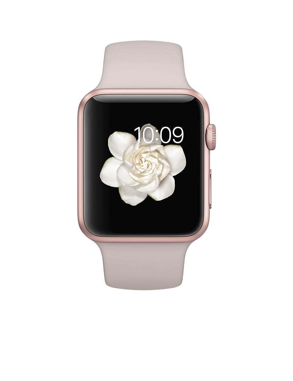Apple watch sport 42mm rose gold aluminum stone sport band mlc62ll a smartwatch for Rose gold apple watch