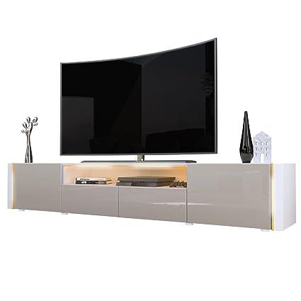 TV Board Lowboard Marino V2 in Weiß / Sandgrau Hochglanz
