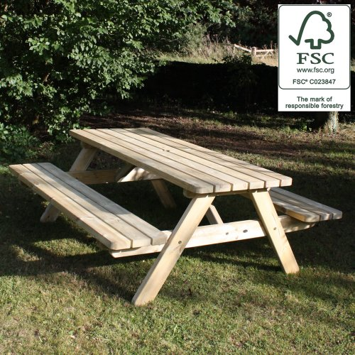 Picnic Table Heavy Duty 1800 Wooden Garden Bench Set - 100% FSC Certified Pine