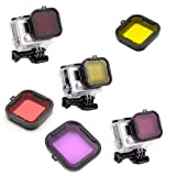 Kate&Yur 3 Pack Dive Filter for Hero 3 Hero 4 (for Underwater case Size: 36x33.5 (mm)) - Red Filter, Yellow Filter and Magenta Filter - Enhancing Colors for Various Underwater Video and Photography