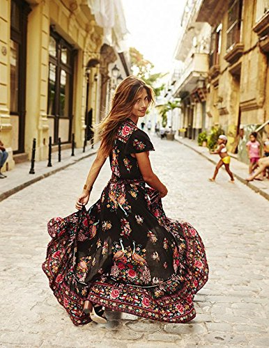 DMTRADE Easily Wear Breathable Chic Design Fashion Summer Vintage Boho Long Maxi Evening Party Beach Dress Floral Sundress M 2