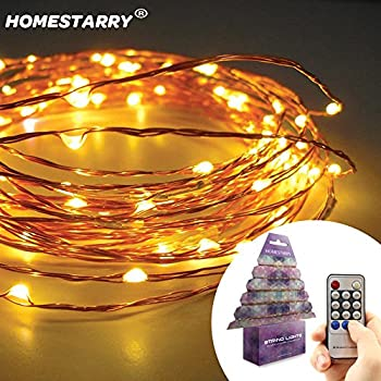 HomeStarry New Clearance Sale 67% Off By Homestarry String Lights -120 Warm White LED's on a Flexible Copper Wire 20 Ft - Perfect for inte