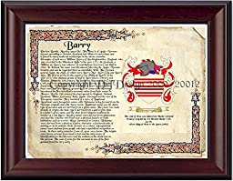 Barry Coat of Arms/ Family History 11'' x 13 '' Wood Framed on Fine Paper