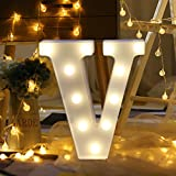 Gotian 26 Letters Alphabet Letter Lights, Lighting up Words, Warm White LED Light Sign A-Z Lamp DIY Romantic Night Party Holiday Birthday Wall Hanging Home Wedding Decor with Remote Control (V) (Color: V)
