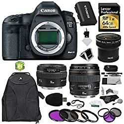 Canon EOS 5D Mark III 22.3 MP Full Frame CMOS with 1080p Full-HD Video Mode Digital SLR Camera (Body) + F 50mm f/1.4 USM Standard & Medium Telephoto Lens + EF 85mm USM + Polaroid .21X HD Fisheye Lens + Polaroid Filters + Lexa