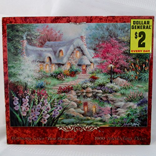 "NEW FACTORY SEALED OUT OF PRINT 1000 PIECE PUZZLE TITLED [ FIRST BLOSSOMS ] 25"" X 18"" FROM E & L CORP .'s HARMONY SERIES"