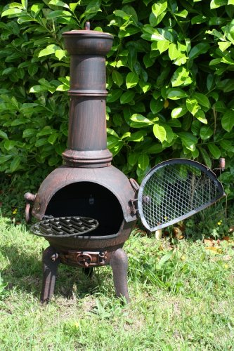 ANTIQUE RED 105CM CAST IRON/STEEL MIX CHIMINEA WITH SWING OUT GRILL TO BBQ