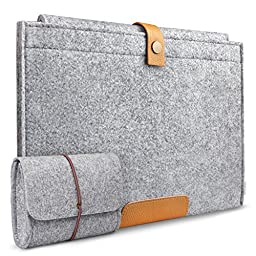 Inateck MP1502 Felt Sleeve with Button Closure and Card Slot for 15-Inch Retina MacBook Pro - Gray