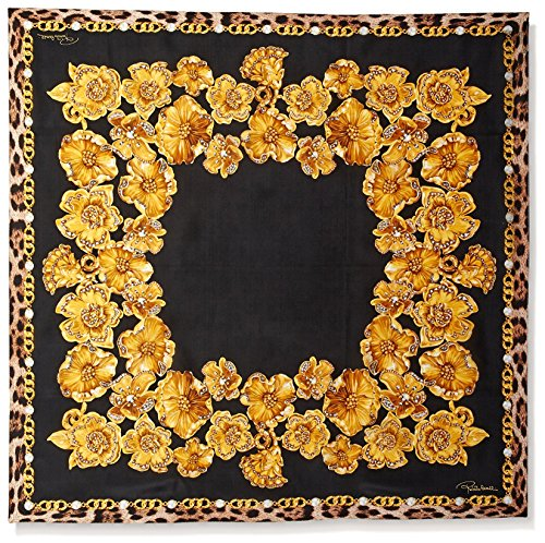 Roberto-Cavalli-Womens-Patterned-Silk-Scarf-YellowBlack