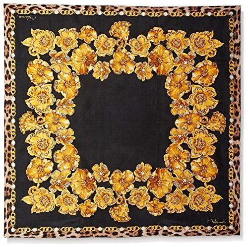 Roberto-Cavalli-Womens-Patterned-Silk-Scarf-YellowBlack