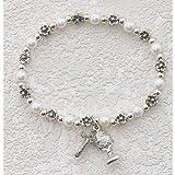 First Communion Gift Bracelet BR273C White Pearl and Flower Stretch Catholic Rosary Bracelet