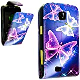 PU Leather Flip Case For SAMSUNG GALAXY MINI GT-S5570 S5570 VARIOUS DESIGNS + STYLUS PEN (BLUE BUTTERFLY FLIP)