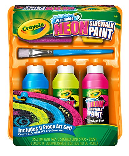 Crayola Washable Sidewalk Neon Paint Tray , 9 piece kit - 1