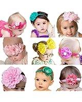 Qandsweet Baby Girl's Beautiful Headbands (9 Styles Bows)