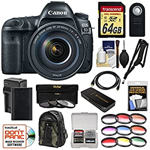 Canon EOS 5D Mark IV 4K Wi-Fi Digital SLR Camera & EF 24-105mm f/4L IS II USM Lens with 64GB Card + Battery & Charger + Backpack + Filters + Kit