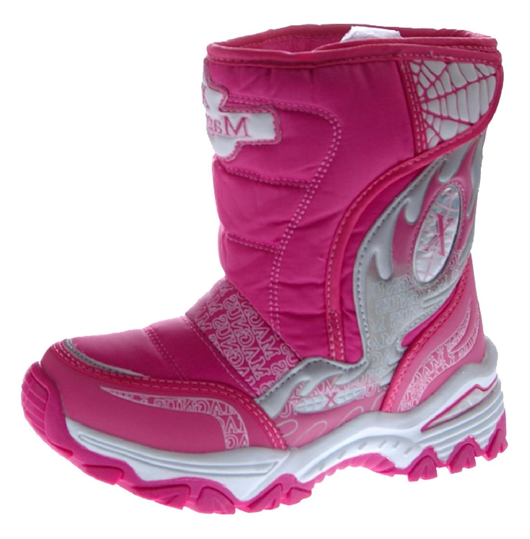 Kinder Stiefel Blau Silber Rosa Pink Winter Schuhe gefüttert Boots Outdoor Jungen u Mädchen mit Spikes