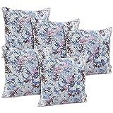 Idrape Polyester 5 Piece Cushion Cover Set- Blue, 40 Cm X 40 Cm