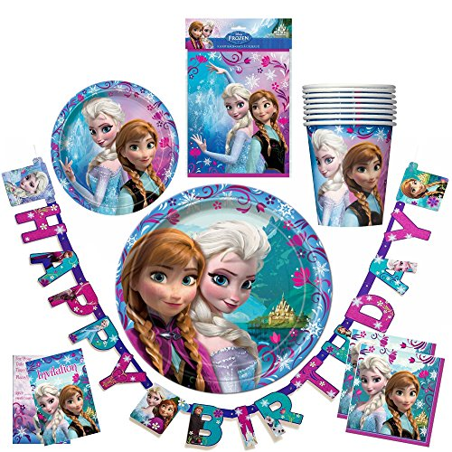 Disney Frozen Party Supplies Birthday Items Plates Napkins Cups. Kids Set For Eight (8). Including Banner.
