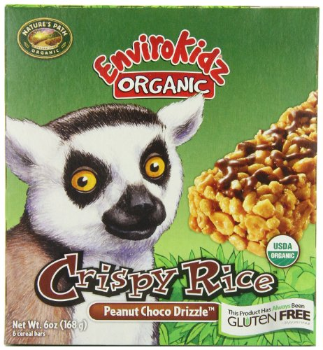 EnviroKidz Organic Lemur Peanut Choco Drizzle Crispy Rice Bar, 6-Count Bars (Pack of 6)