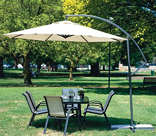 Goplus 10'Garden Patio Large Cantilever Umbrella Yard Sunshade Umbrella Stands Beach front-878614