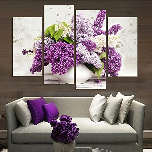 4 Panel Modern Lavender Flowers Canvas Painting on Canvas Wall Art Modular Pictures Home Decor for Living Room No Frame (Modular Arts Wall Panels compare prices)