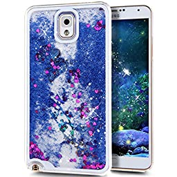 Galaxy Note 3 Case, ikasus Galaxy Note 3 [Liquid Bling] Case,Creative Design Flowing Liquid Floating Luxury Bling Glitter Sparkle Butterfly Hard Case for Samsung Galaxy Note 3(Butterfly:Dark Blue)