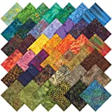Moda Sun Drenched Batik Charm Pack, Set of 40 5-inch (12.7cm) Precut Cotton Fabric Squares