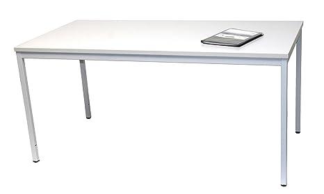 Schreibtisch (Stahl) LxB: 160x80 cm, lichtgrau, Marke: Szagato (Arbeitstisch, Computertisch, Burotisch, Druckertisch)