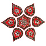 Mela Beaded Decorative Festive Diwali Rangoli And Tea Light Candle Holder With Gift Box (Acrylic, 24 Cms, Red-48)