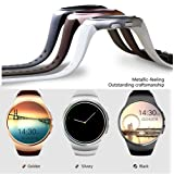 Bluetooth Smart Watch KW18 1.3 inches IPS Round Touch Screen Smartwatch Phone with SIM Card Slot,Sleep Monitor,Heart Rate Monitor and Pedometer for IOS/Android Device (Silver) (Color: Silver)